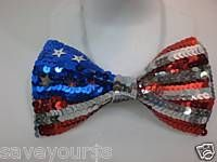 Red White Blue Sequin Bow Tie American Flag Bowtie July