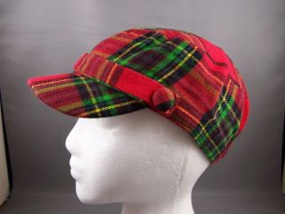 Red Tartan Plaid Newsboy Hat Cap Cadet Fidel Small Brim