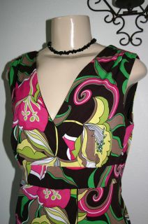Cato Sz s Brown Pink Green Floral Print Wrap Bust Asym Hem Sleeveless