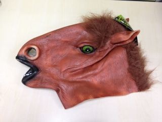 Brown Creepy Horse Head Face Green Eyes Costume Halloween Party