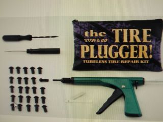 TUBELESS TIRE REPAIR KIT MOTORCYCLE, car, atv, plug fix a flat ,on rim