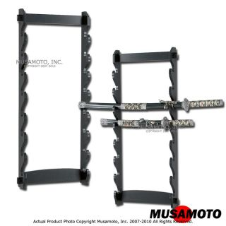 Black 8 Tier Wall Stand Sword Display Rack Holder w Kit
