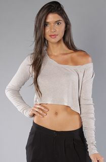Insight The No Remorse Long Sleeve Cropped Top in Gray Marle