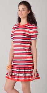 MARC BY JACOBS Flavin Striped stretch cotton mini Runway Dress