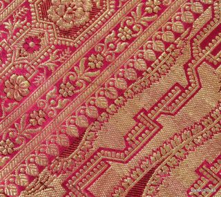 Vintage Sari Hand Woven Brocade Fabric Art Silk Heavy Saree Floral