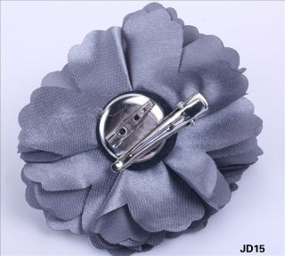 grey flower satin fabric hair clip pin brooch corsage hairdress dual