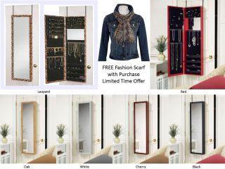 Armoire Mirror Door Hanging or Wall Mount Jewelry Cabinet Organizer