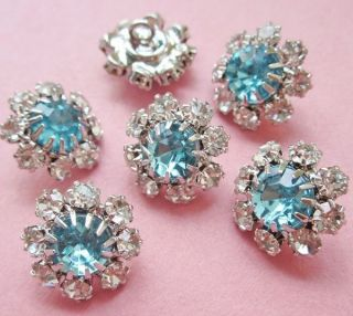 FREE SHiP 6 vintage style flowery blue clear rhinestones buttons 5 8