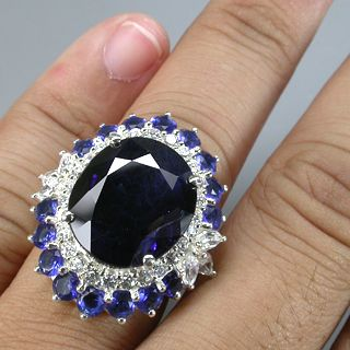 Flowery Top Blue Sapphire White Sapphire Real 925 Sterling Silver Ring