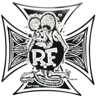 Rat Fink Iron Cross Decal Car Food Diner Hot Rat Rod Sticker Drag