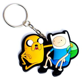 rubber keychain featuring our two favorite heroes, Finn & Jake ! A