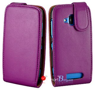 Premium PURPLE Flip Leather Case Cover for NOKIA Lumia 610 + Screen