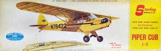 Sterling Piper Cub J 3 Wood Flying Model Airplane Kit