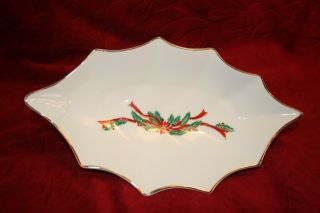 Fairfield Tienshan POINSETTIA RIBBONS 10 Leaf Shaped Candy Dish