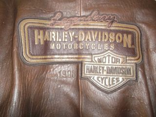 RARE MENS XL HARLEY DAVIDSON LEGENDARY HIGH ROLLER BROWN LEATHER
