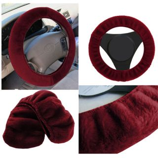 Sheepskin Soft Furry Red Burgundy Steering Wheel Cover Fit Ford