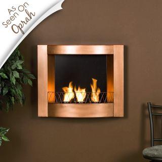 Wall Mount Indoor or Outdoor Gel Fuel Fireplace Copper Finish EZ Hang