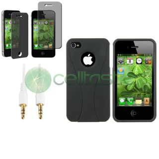 Black Cup Shape Plastic Case Privacy Film Cable for iPhone 4 s 4S 4G