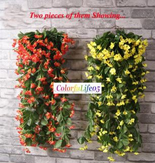 2x32Violet Orchid Ivy Artificial Flower Hanging Plant Silk Garland
