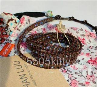 Chan Luu AB Crystal Beads Wrap Bracelet on Brown Leather