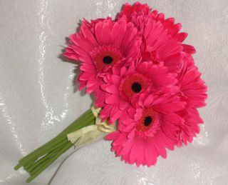 PINK Gerber Gerbera Daisies Bridal Bouquet Silk Wedding Flowers NEW