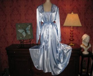 Flora Nikrooz Satin Nightgown Gown Peignoir Robe Set Negligee Lingerie