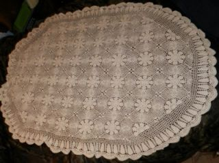 Large Oval Table Cover   Vintage Hand Made Cotton Ivory Flower Pattern