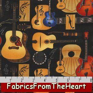 Music Folk Rock N Roll Guitars Notes Black Michael Miller YARDS Cotton