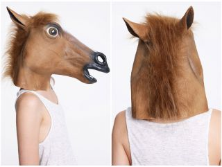 Brown Horse Head Face Animal Costume Halloween Party Prop Carnival