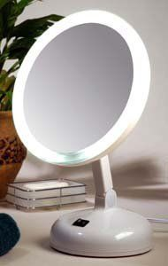 Floxite 7 Table Top Makeup Lighted Vanity Mirror 10x magnified