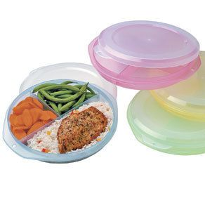 Set of 4 Triple Divided Meal Food Storage Containers Dishwasher Safe