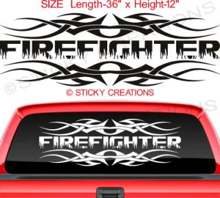 110 Firefighter Back Window Decal Sticker Graphic Text