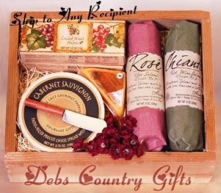 Wine Crate Cheese Salami Crackers Gift Basket Ships Now