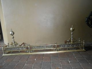 RARE ORNATE ANTIQUE SILVER PLATED FIREPLACE FENDER AND ANDIRONS