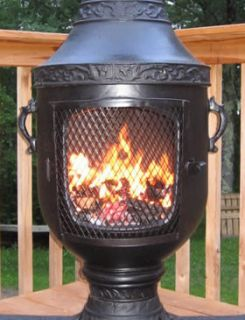 or Wood Burning Chiminea Outdoor Fireplace Venetian Design New