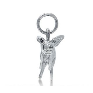 925 Sterling Silver Flying Pig Charm Pendant ZCPK