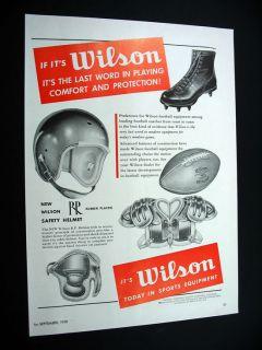 Wilson Football Helmet Cleats Shoulder Pads 1950 Ad