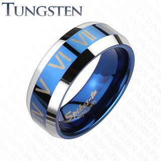 Rose Blue IP Roman Numerals Comfort Fit Wedding Band Mens Ring