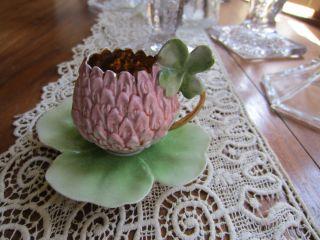 Antique ROYAL BAYREUTH Clover Flower figural Demitasse cup saucer