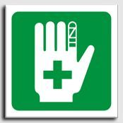 First Aid Hand Graphic Sign s Rigid 150x150 SA 020 RC