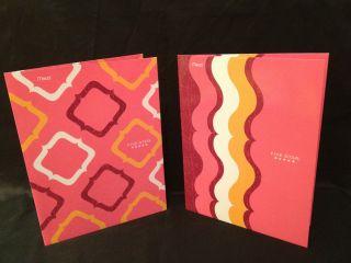 Five Star 4 Pocket Pink Geometric Swirl 2 Folder Set Fit 3 Ring Binder