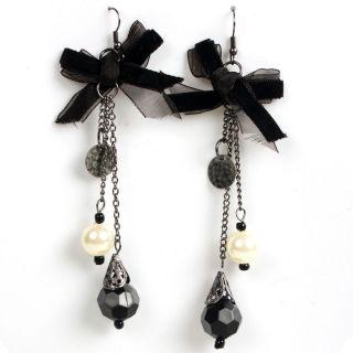 Black Velvet Bow Dangle Beads Pearl Goth Punk Earring