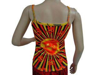 Hindu Yoga Ohm Shirt Clothing OM Print Bohemian Orange Red Aum Tank