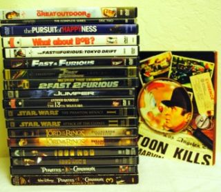 Lot of 19 Preowned DVD Fantasy Action Movies Star Wars Lord of The