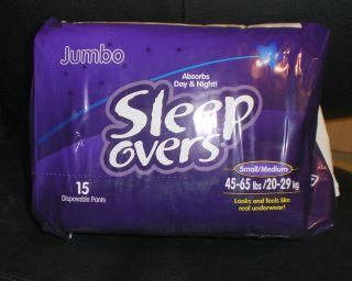 SLEEP OVERS NIGHT AND DAY PULL DIAPERS JUMBO PACK SMALL MEDIUM 30 CT