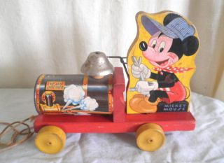 Old Fisher Price 485 Mickey Mouse Pull Toy Vintage Disney Toy