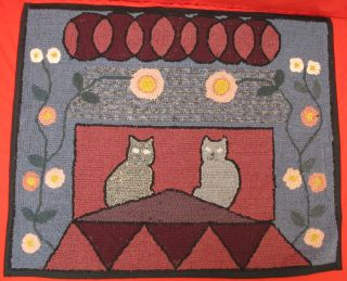 Antique Folk Art Americana Hand Made Hooked Rug 2 Cats on Roof Flowers