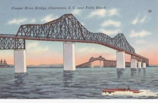 Bridge Charleston South Carolina Folly Beach Vintage Postcard