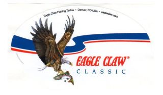 Two EAGLE CLAW Fishing decal, hooks, bait, lures, rods & reels, tackle