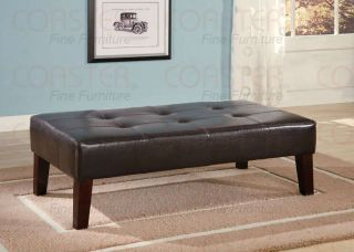 Brown Rectangular Tufted Faux Leather Ottoman Bench by Coaster 501047
